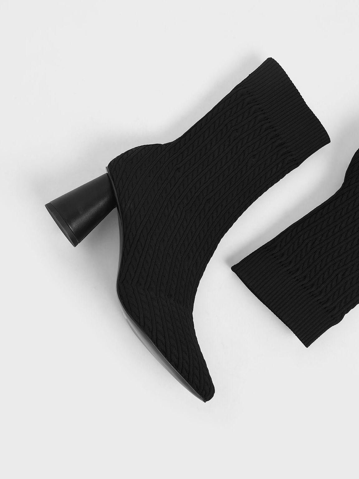 Knitted Sculptural Heel Sock Boots, Black, hi-res