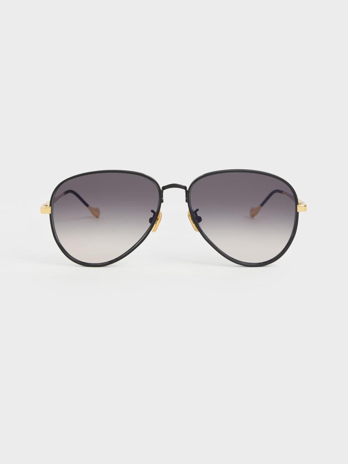 撞色金屬框墨鏡, 黑色, hi-res