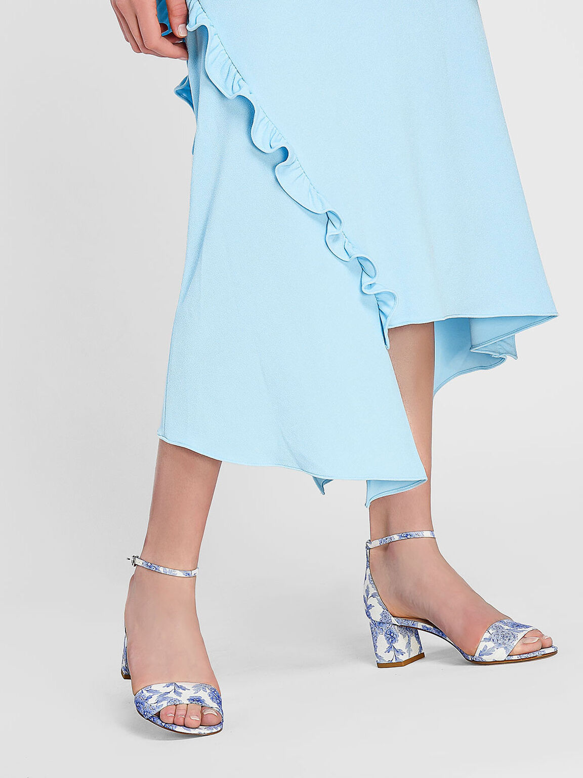 Ankle Strap Sandals, Blue, hi-res