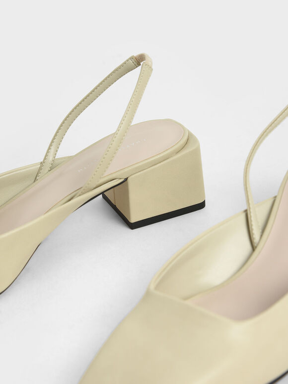 Square Toe Slingback Pumps, Sand, hi-res