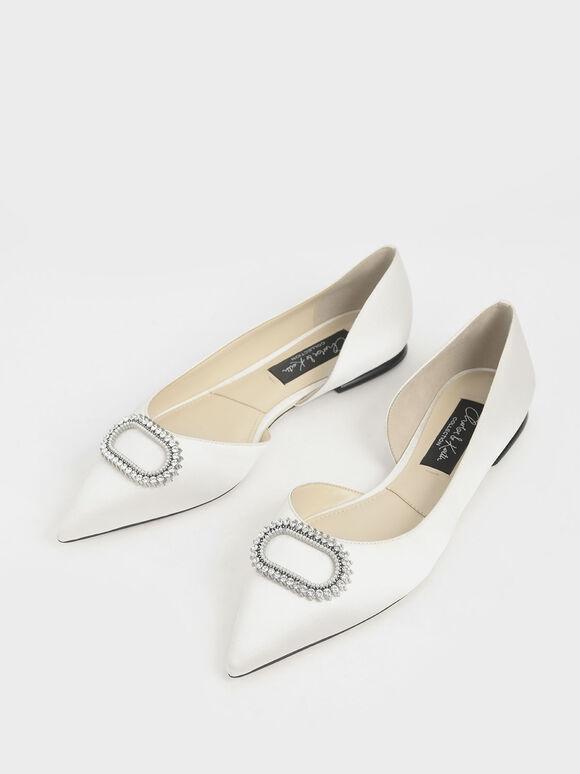 Wedding Collection: Embellished Satin Ballerina Flats, White, hi-res