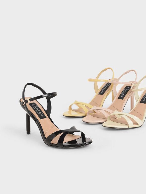 Patent Leather Criss-Cross Heels, Black, hi-res