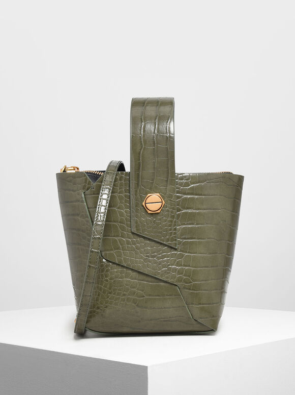 Croc-Effect Wristlet Handle Bucket Bag, Olive, hi-res