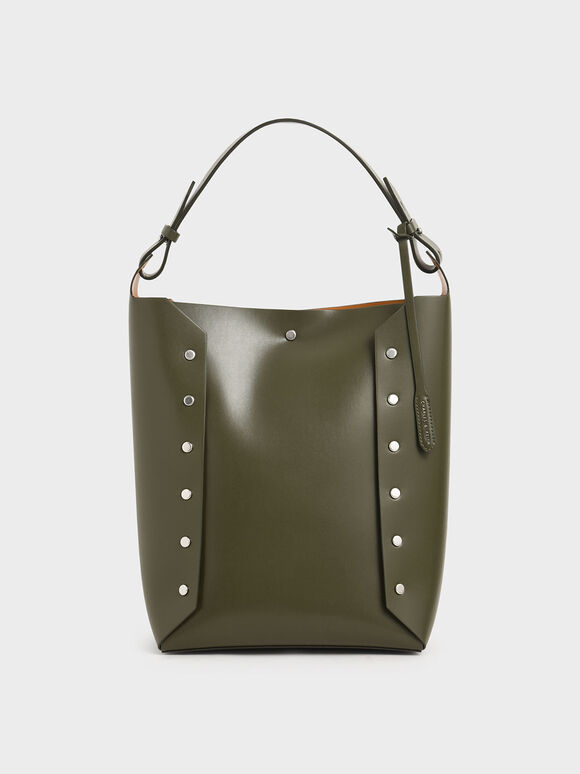 Large Reversible Studded Tote Bag, Olive, hi-res