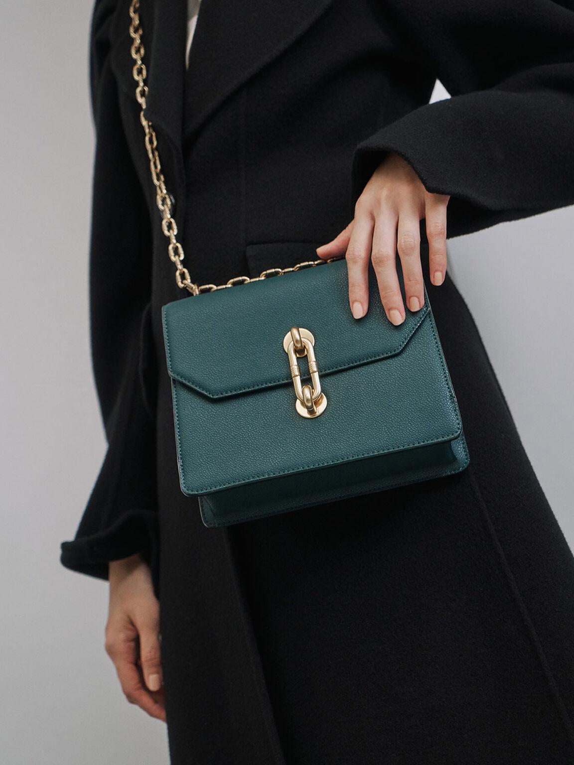 Double Chain Strap Turn-Lock Bag, Green, hi-res