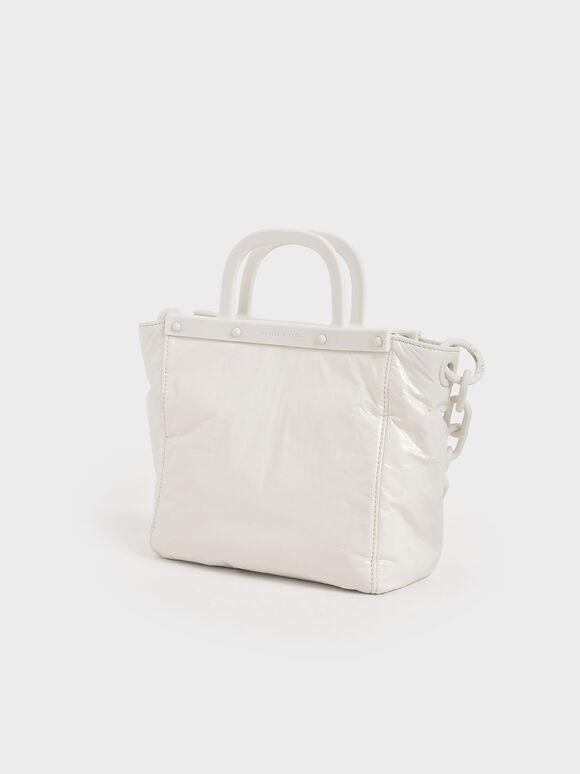 Patent Tote Bag, White, hi-res