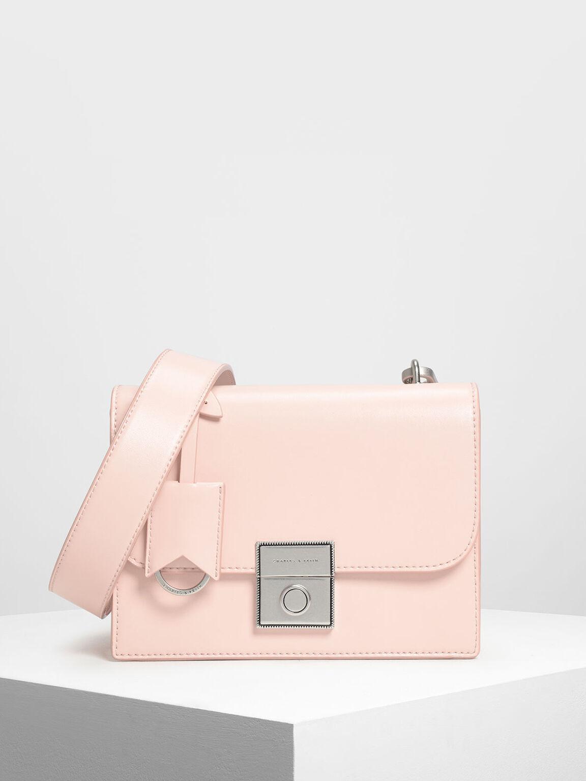 Structured Crossbody Bag, Pink, hi-res