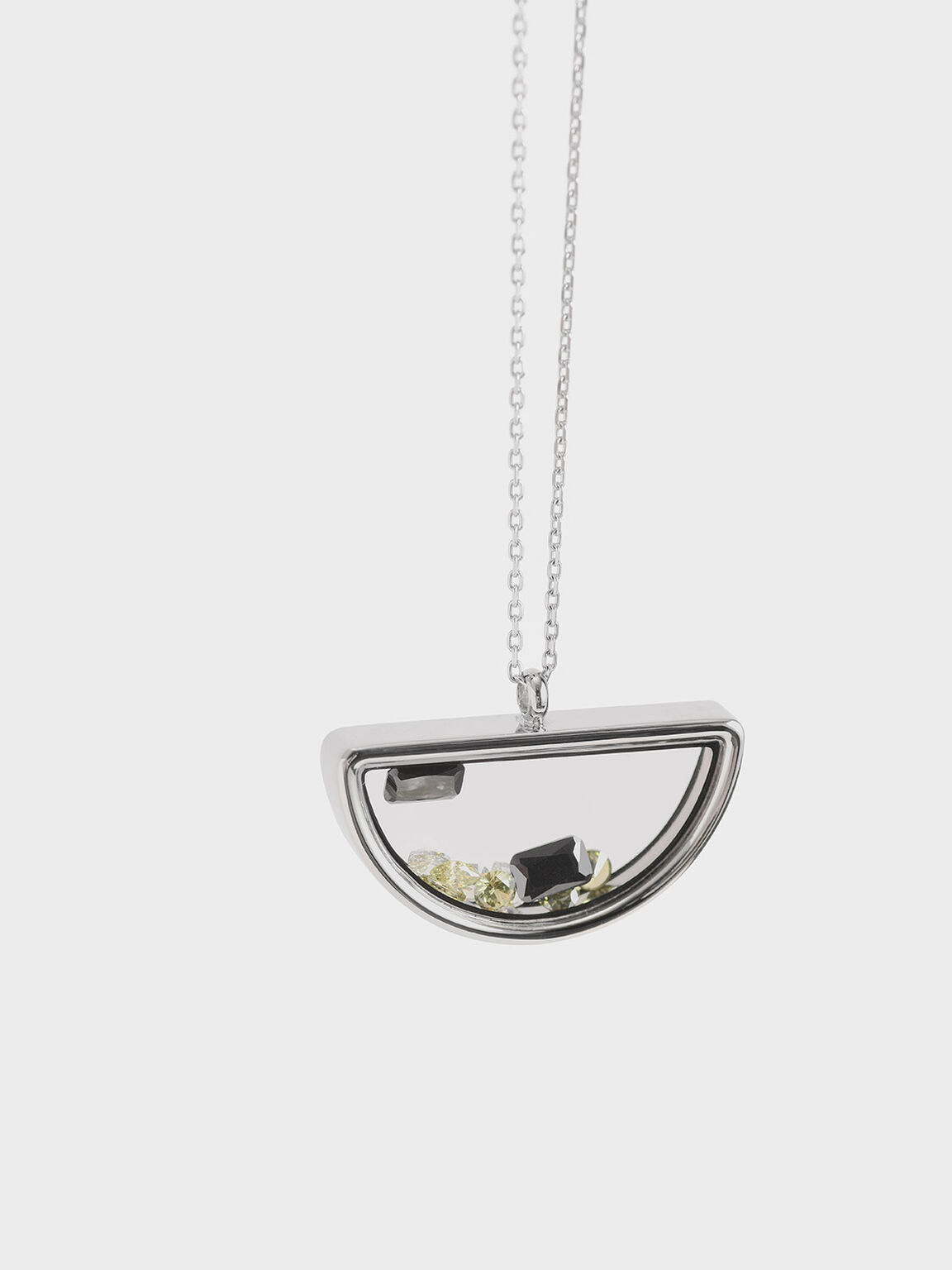 Semi-Circle Floating Locket Necklace, Silver, hi-res