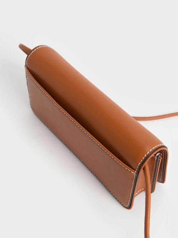 Push-Lock Long Wallet, Cognac, hi-res