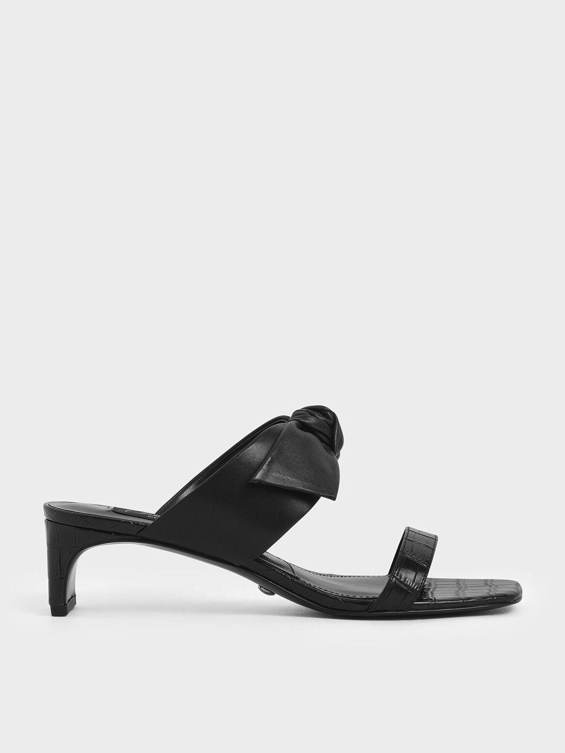 Croc-Effect Bow Leather Mules, Black, hi-res