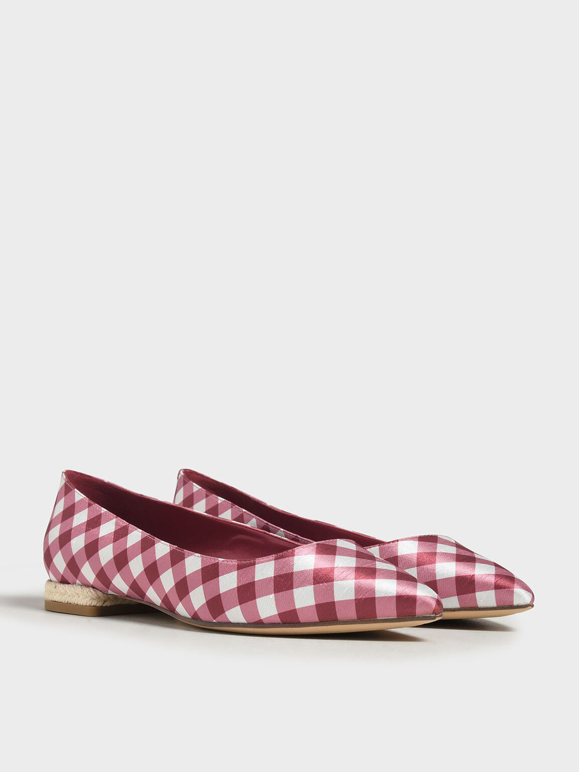 Espadrille Block Heel Check Print Ballerinas, Red, hi-res