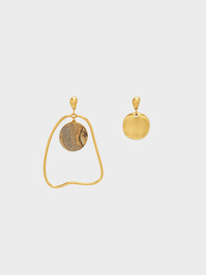 Semi-Precious Stone Mismatch Earrings, Sand, hi-res