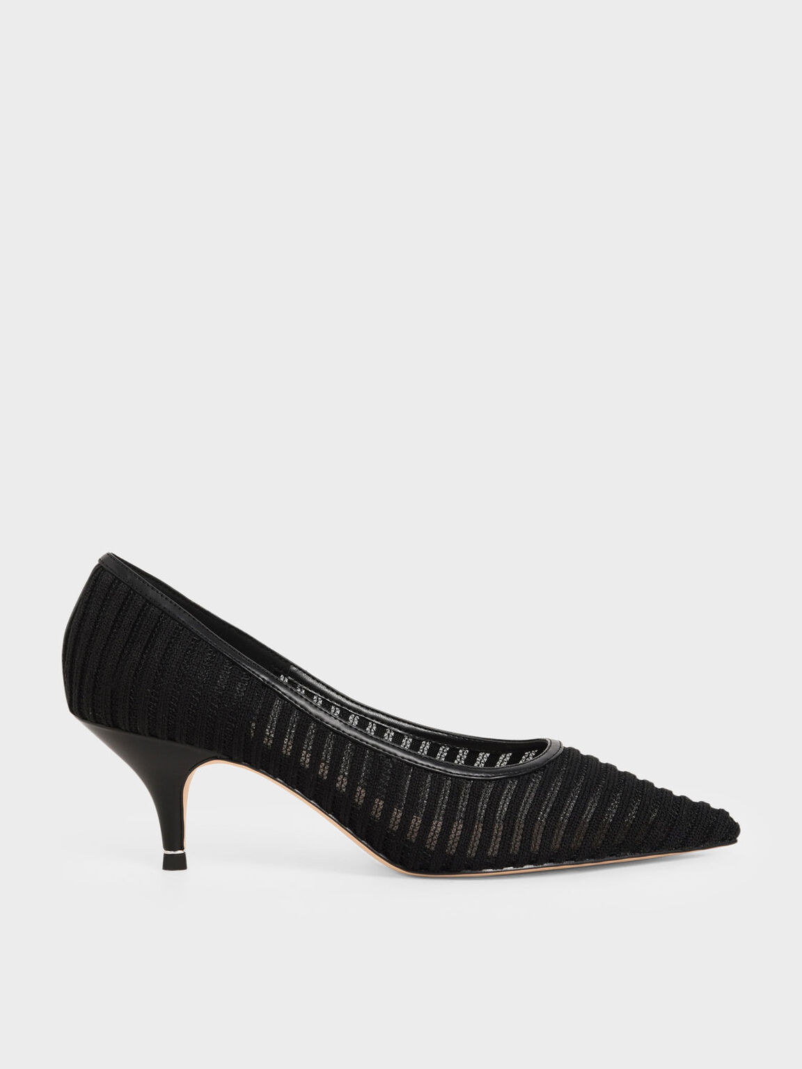 Mesh Pointed Toe Pumps, Black, hi-res