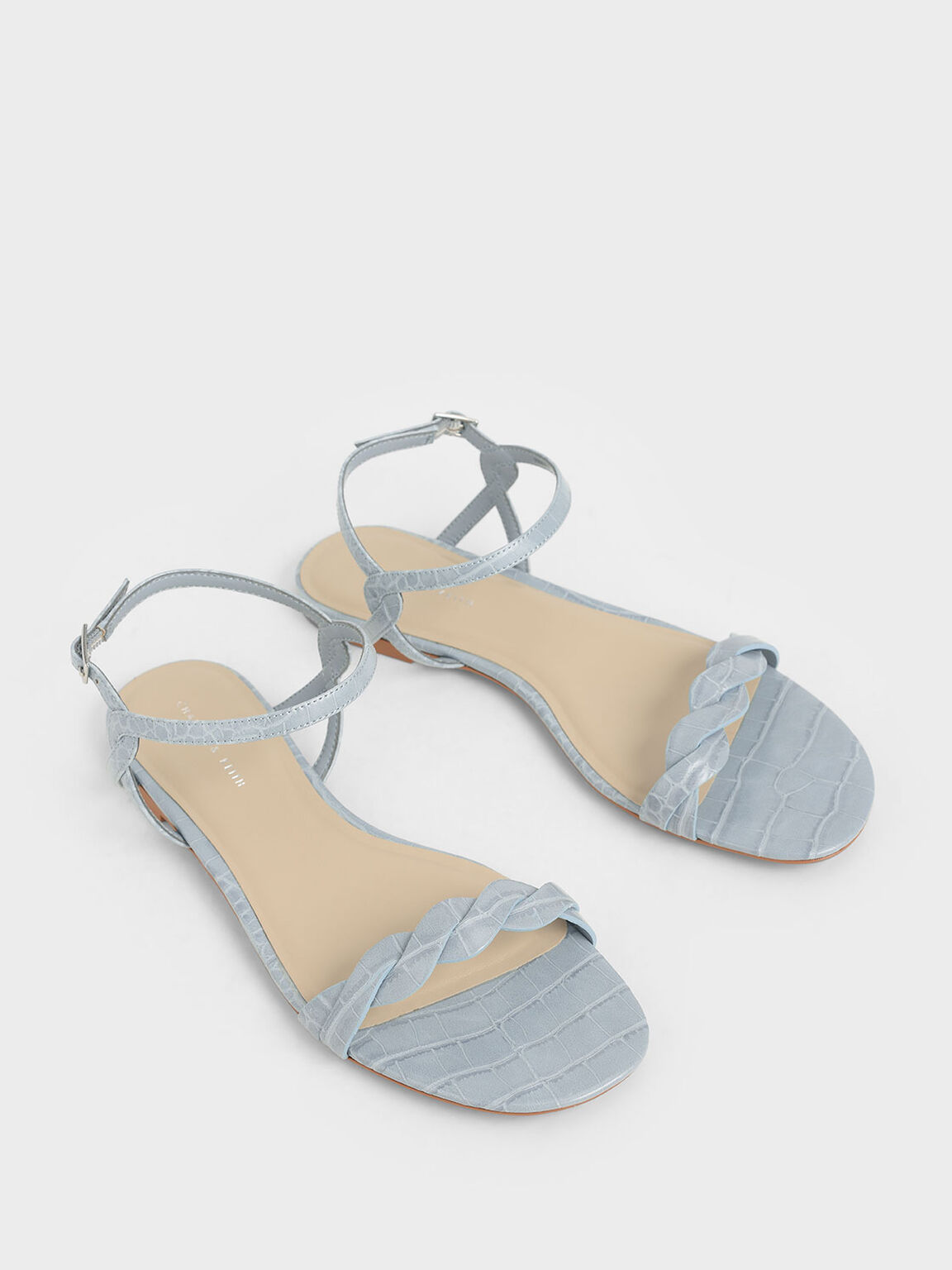 Croc-Effect Twist Strap Flats, Blue, hi-res