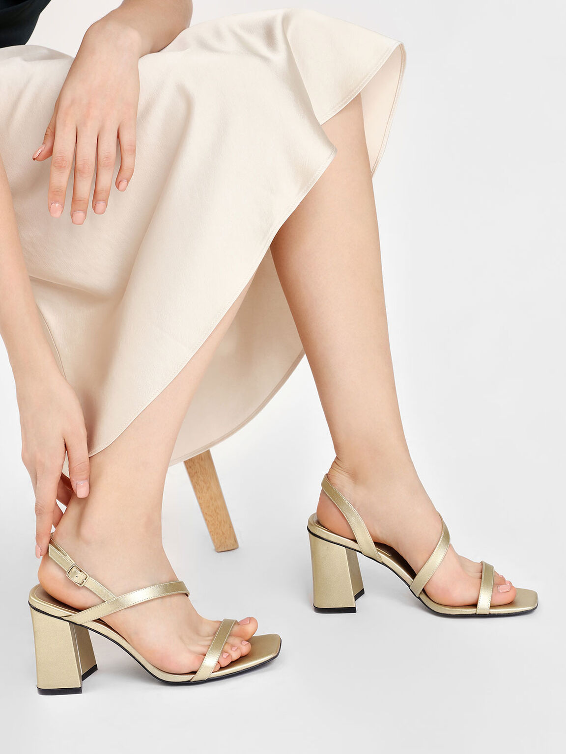 Asymmetrical Strap Heeled Sandals, Gold, hi-res
