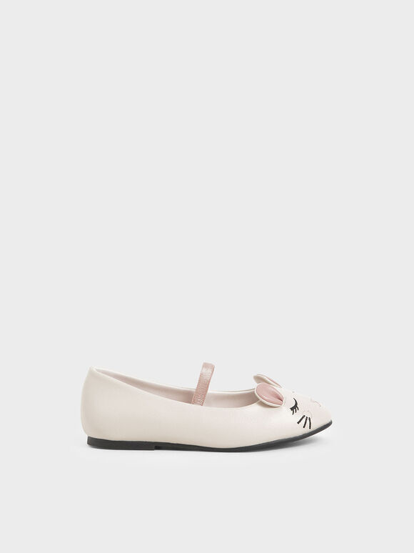 Girls' 'Rat Zodiac' Mary Jane Flats, Cream, hi-res