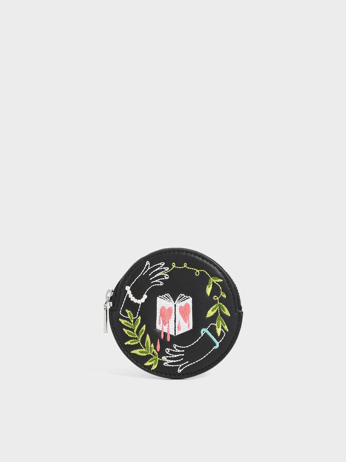 CHARLES & KEITH Teeteeheehee聯名:刺繡零錢包, 黑色, hi-res