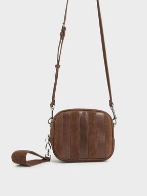Kid Suede & Leather Mini Crossbody Bag, Cognac