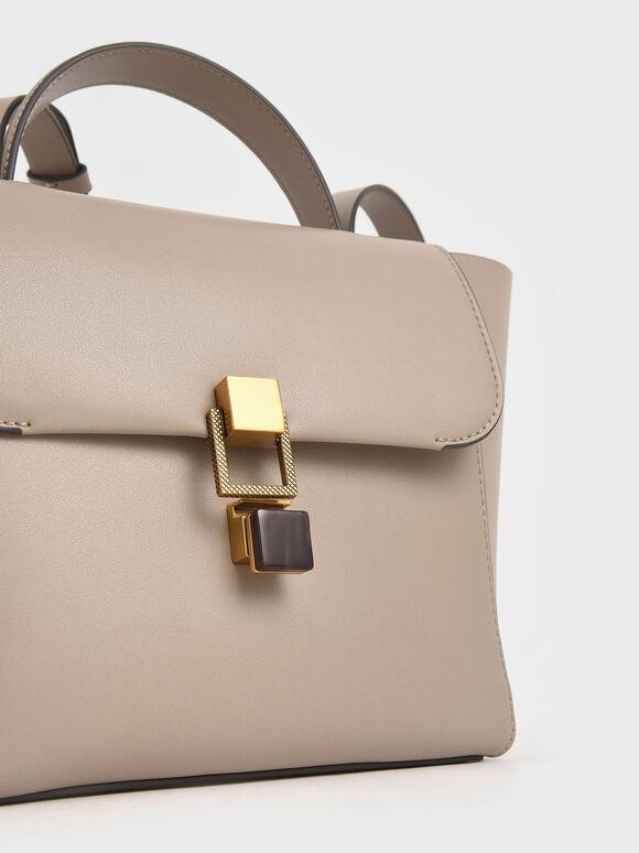 石紋壓釦手提包, 灰褐色, hi-res
