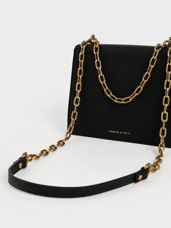 Double Chain Strap Turn-Lock Bag, Black, hi-res