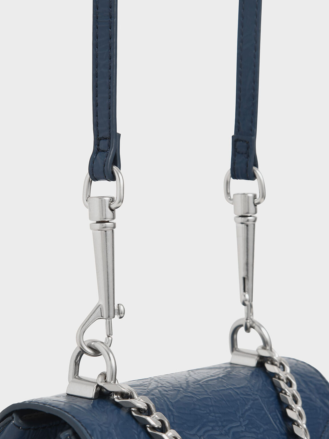 Wrinkled Effect Two-Way Zip Chain Handle Bag, Blue, hi-res