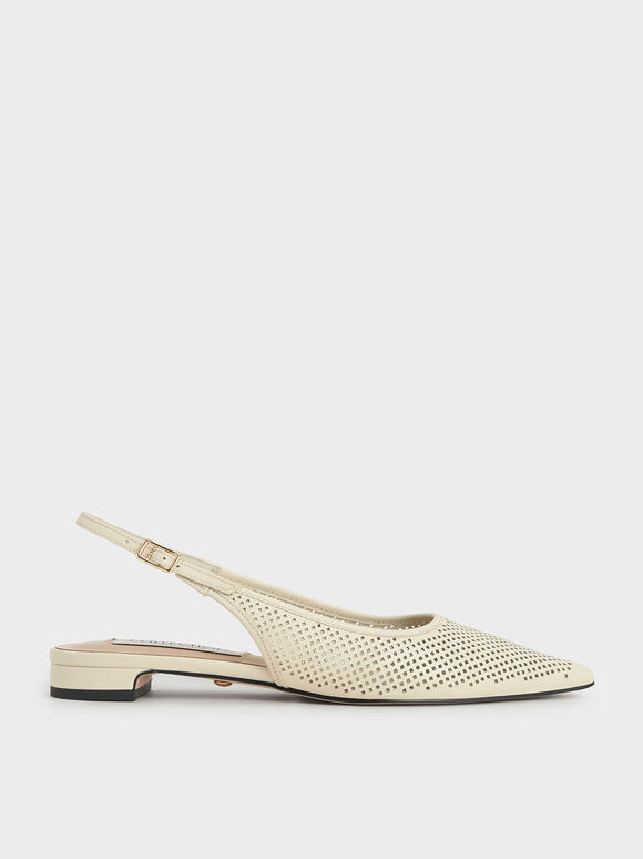 Leather Laser-Cut Slingback Ballerinas, Cream, hi-res