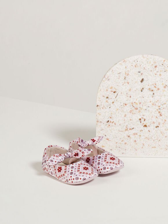 The Purpose Collection - Baby Girls' Bandana Print Bow Ballerinas, Pink, hi-res