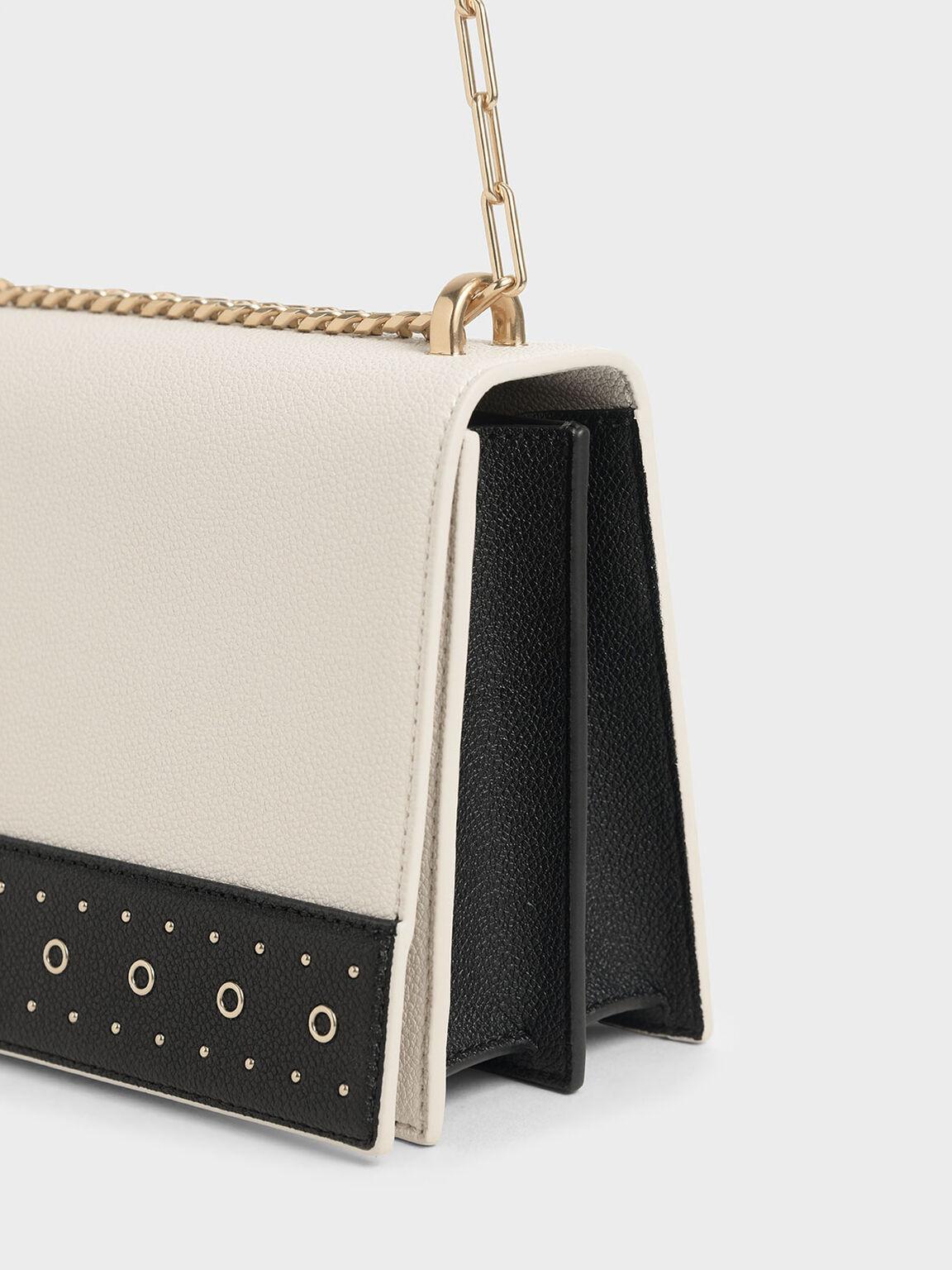 Eyelet-Embellished Crossbody Bag, Cream, hi-res