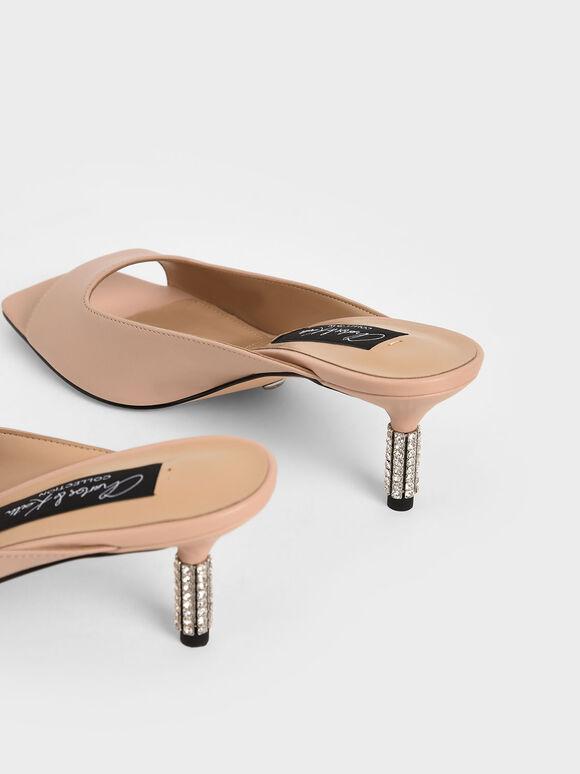 Leather Gem-Embellished Mules, Pink, hi-res