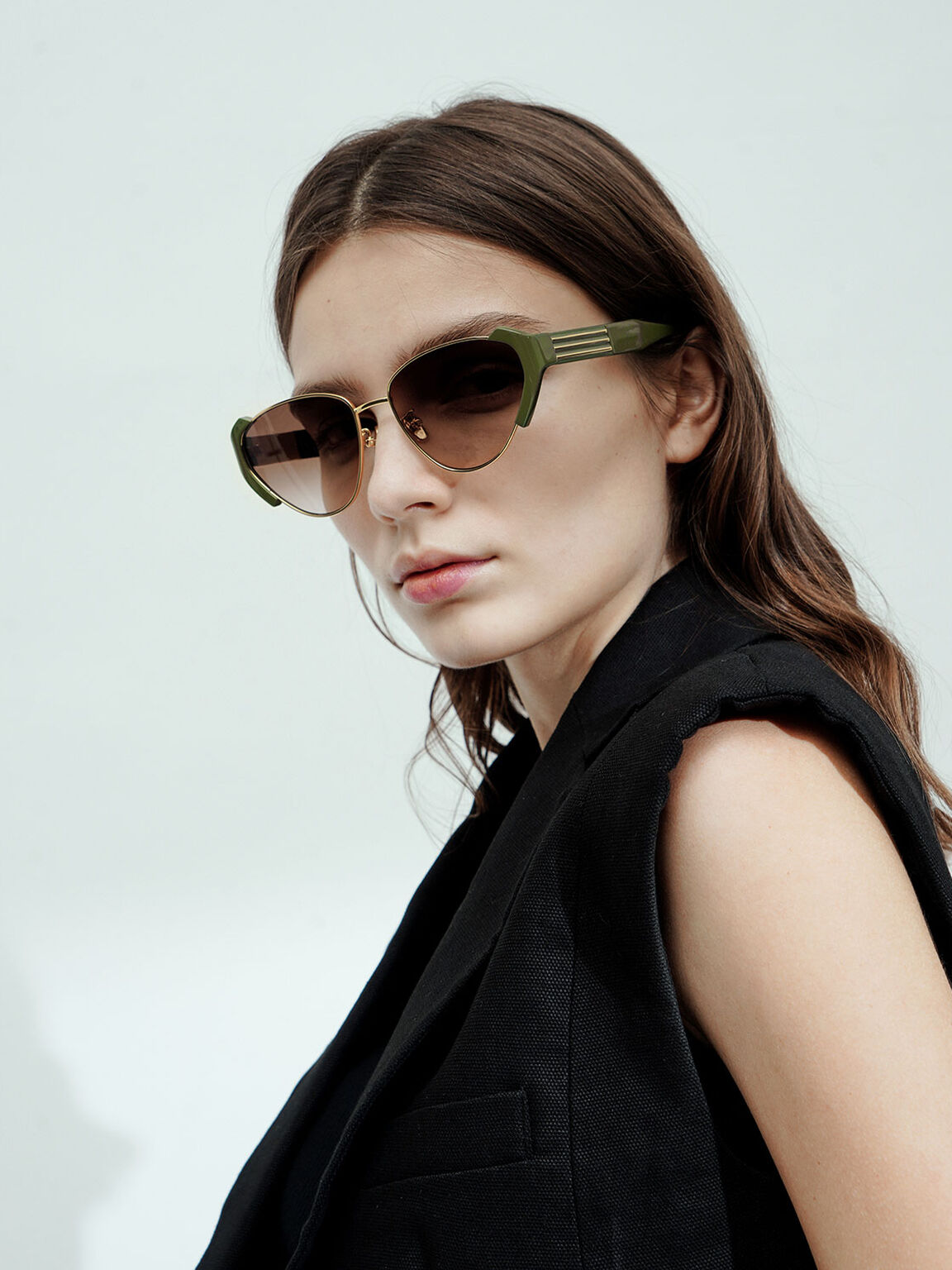 Acetate Striped Cat-Eye Sunglasses, Olive, hi-res