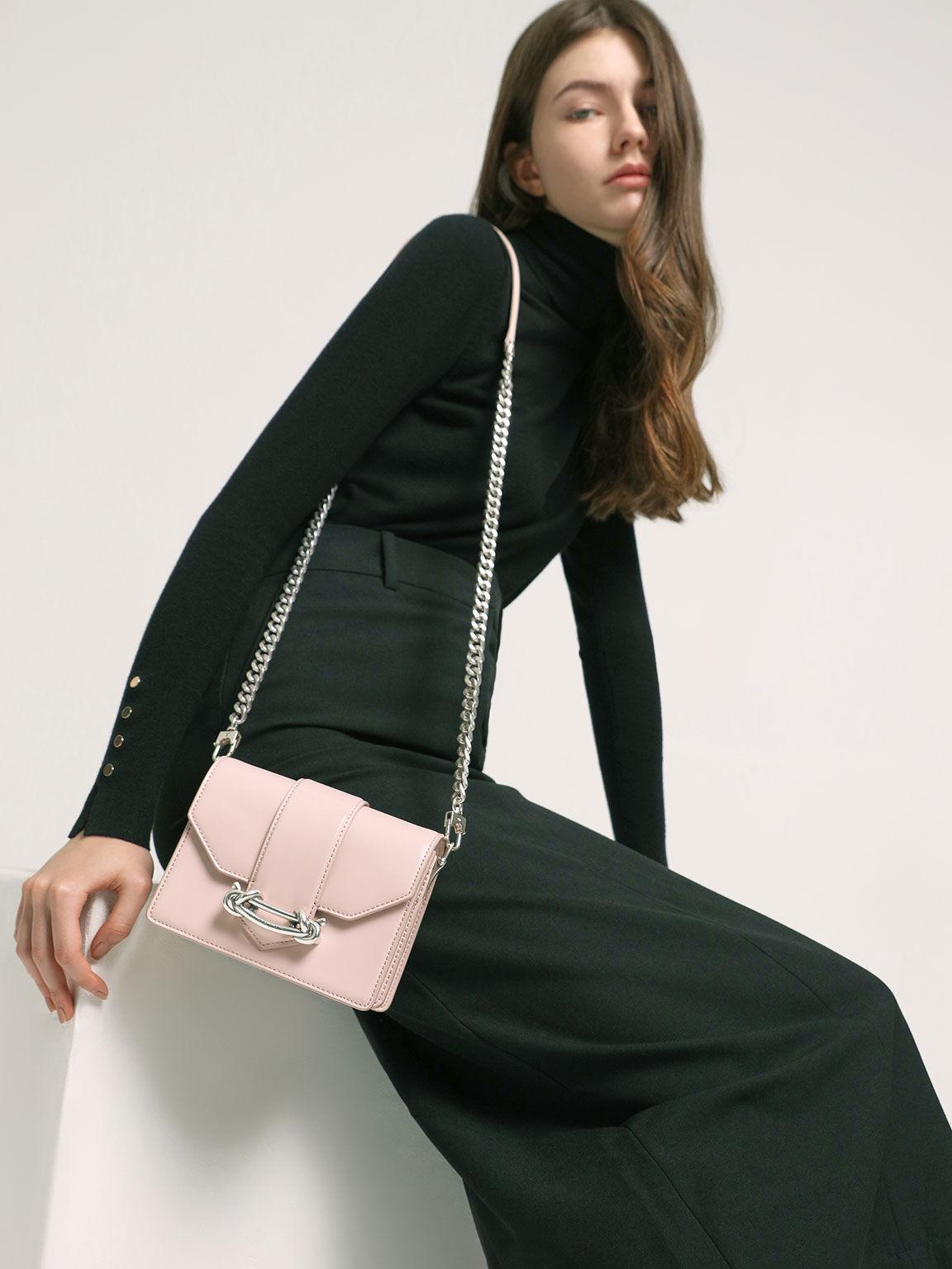 Metallic Buckle Crossbody Bag, Light Pink, hi-res