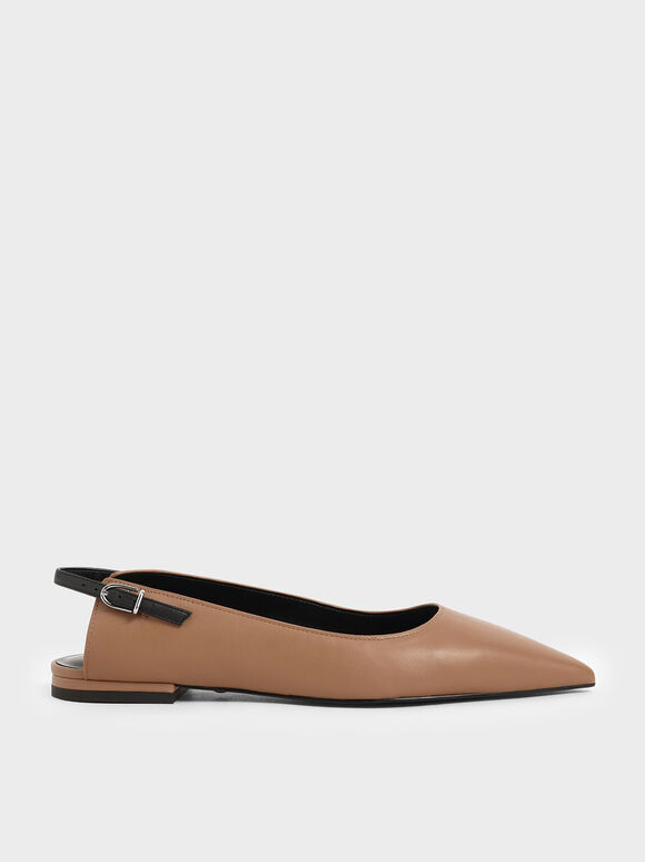 Leather Ballerina Flats, Brown, hi-res