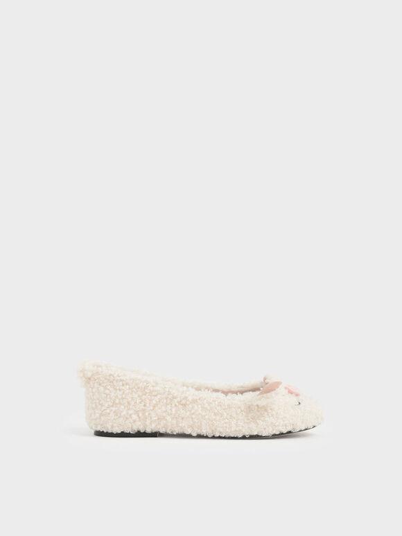 Girls' Nellie The Lamb Furry Ballerina Flats, Beige, hi-res