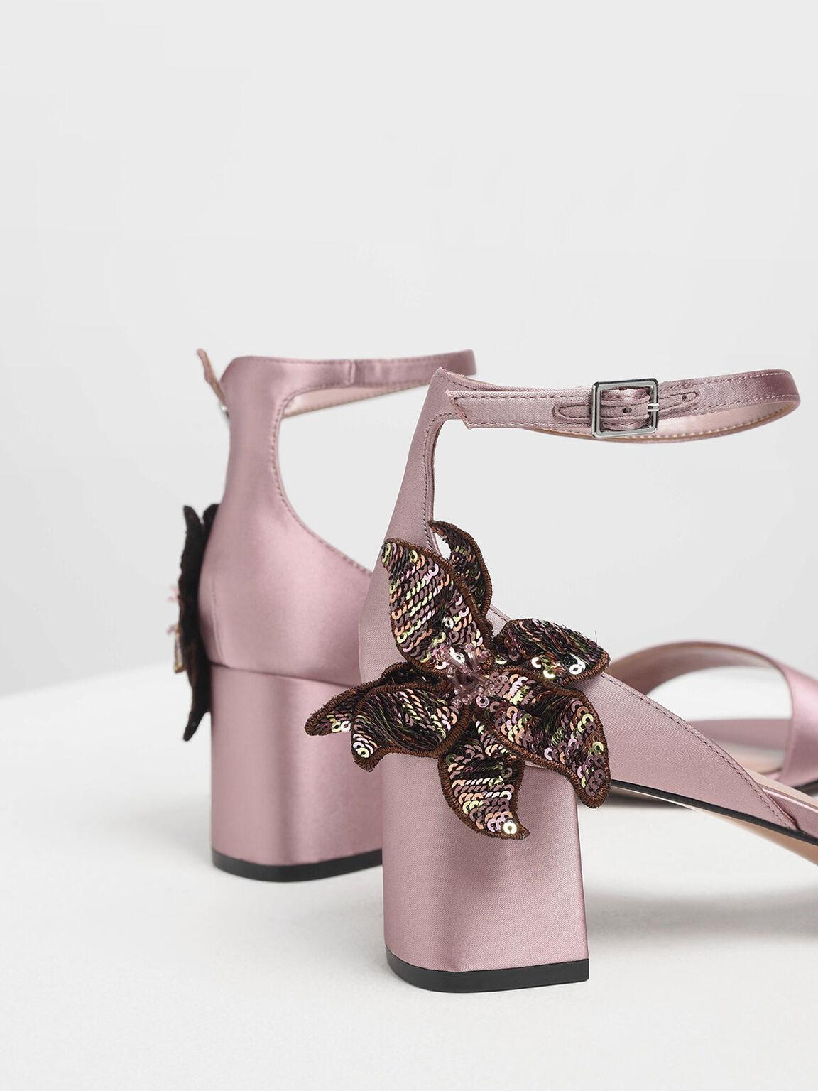 Sequin Flower Satin Block Heel Sandals, Pink, hi-res