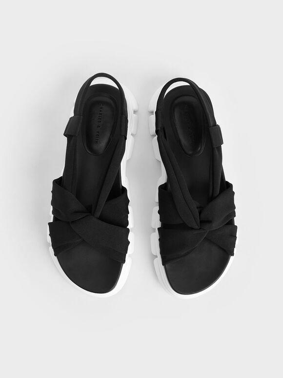 Fabric Sports Sandals, Black, hi-res