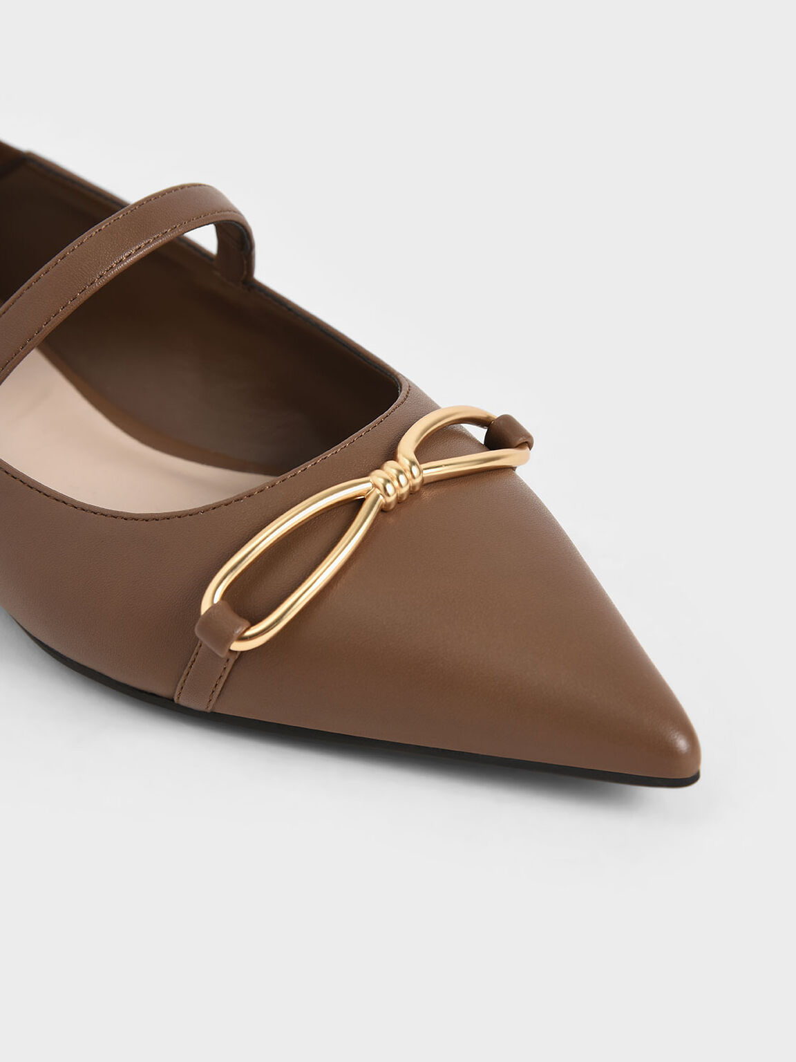Metallic Bow Mary Janes, Brown, hi-res