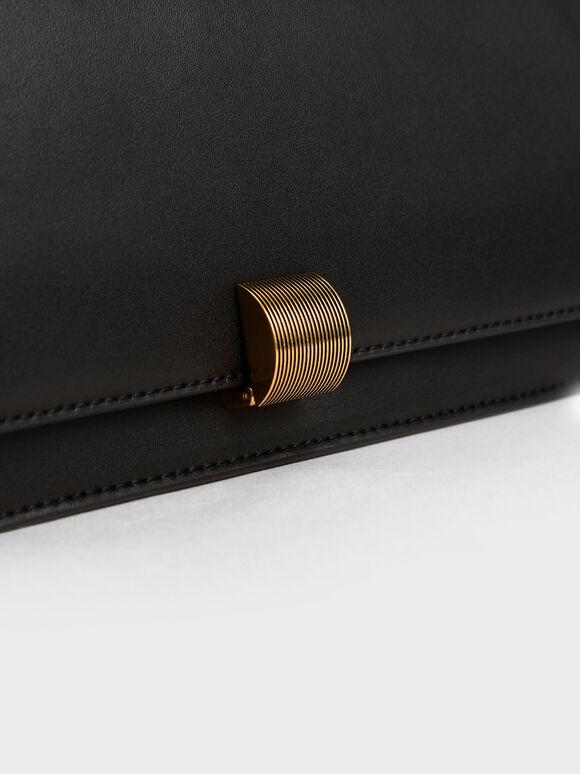 Chain Strap Trapeze Shoulder Bag, Black, hi-res