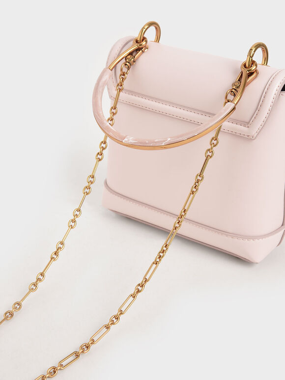 Stone-Embellished Top Handle Bag, Pink, hi-res