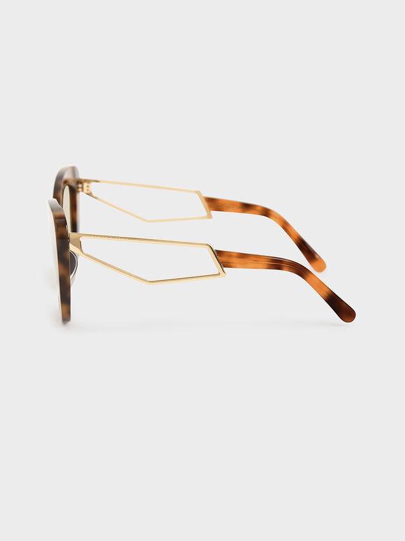 蝴蝶粗框墨鏡, 玳瑁棕, hi-res