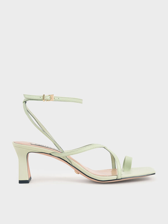 Leather Strappy Crossover Sandals, Green, hi-res