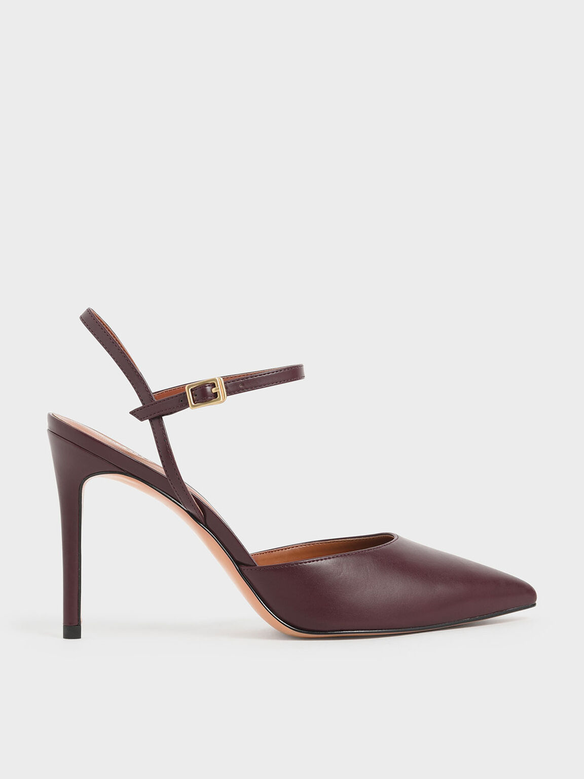Pointed Toe Ankle Strap Pumps, Prune, hi-res