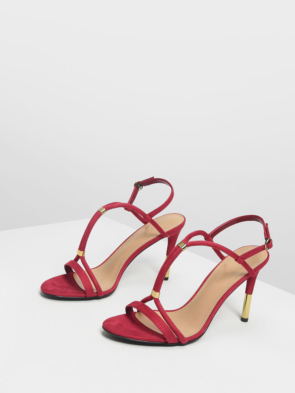 Gold Accent T-Bar Heeled Sandals, Red, hi-res