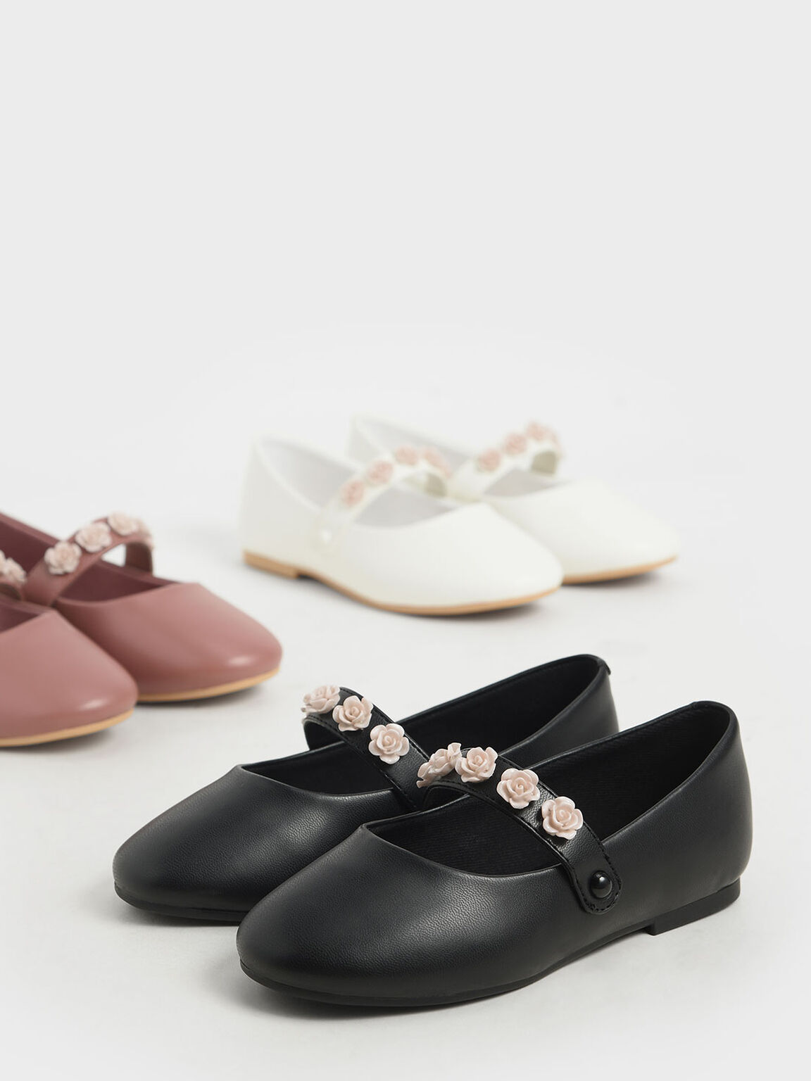 Girls' Flower-Embellished Mary Janes, Pink, hi-res