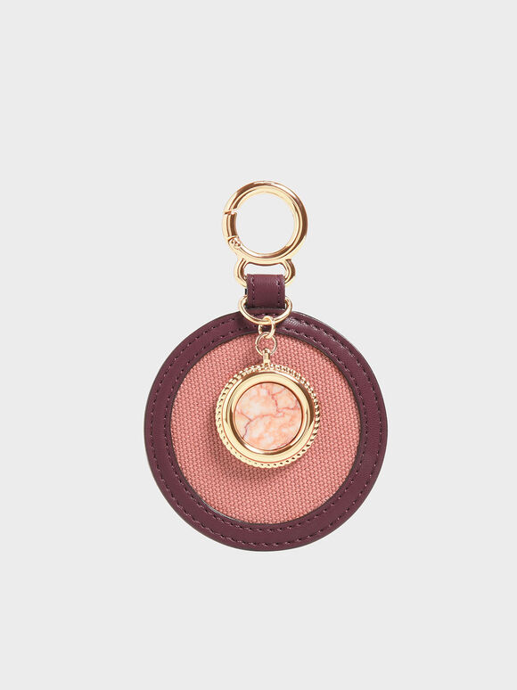 Semi-Precious Stone Round Keychain, Burgundy, hi-res