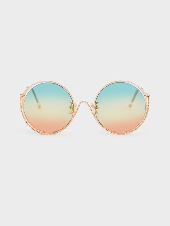Double Rim Tinted Round Sunglasses, Multi, hi-res