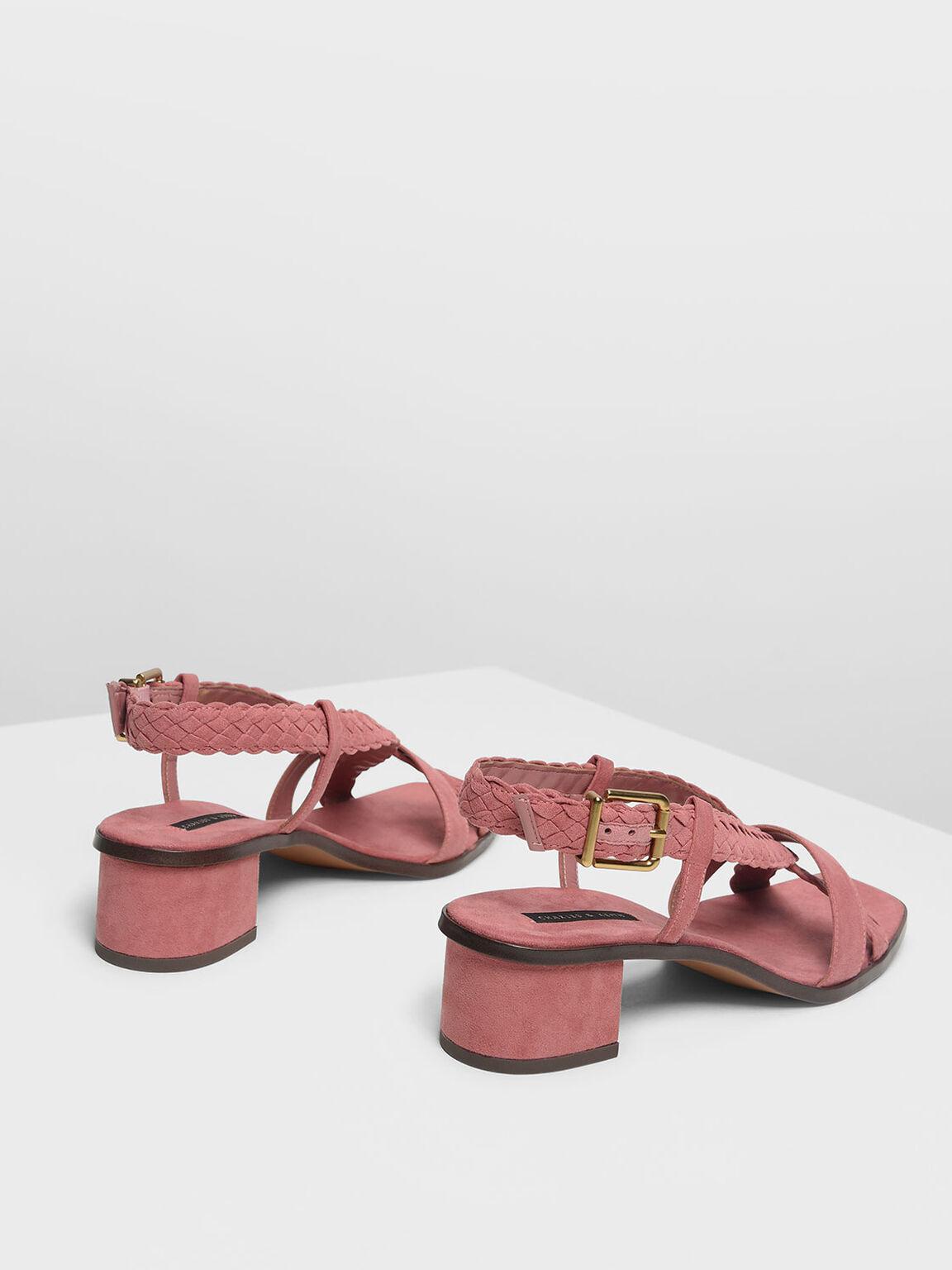 브레이디드 디테일 힐 샌들, Pink, hi-res