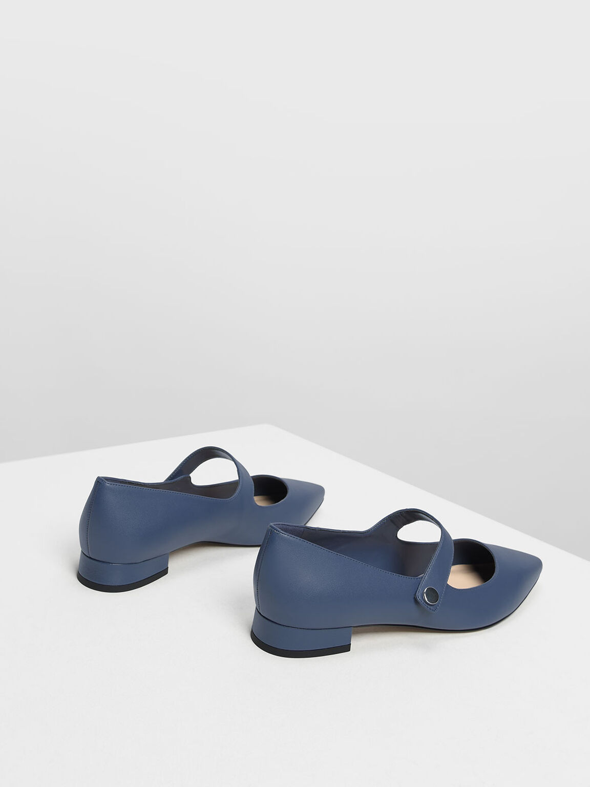 Pointed Toe Mary Janes, Dark Blue, hi-res