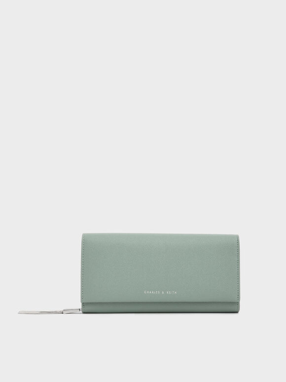 Metal Tassel Classic Long Wallet, Sage Green, hi-res