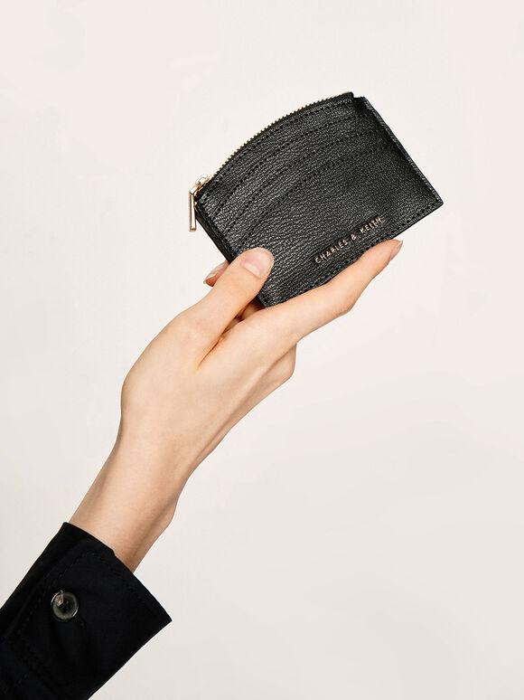 Multi-Slot Zip Card Holder, Black, hi-res