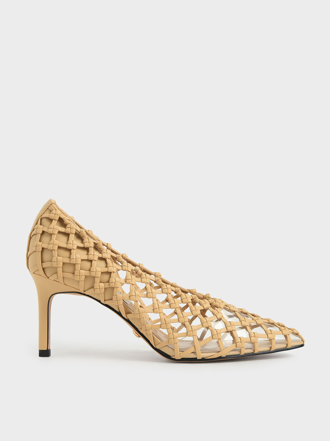 Limited Edition: Woven Caged Pumps, Sand, hi-res